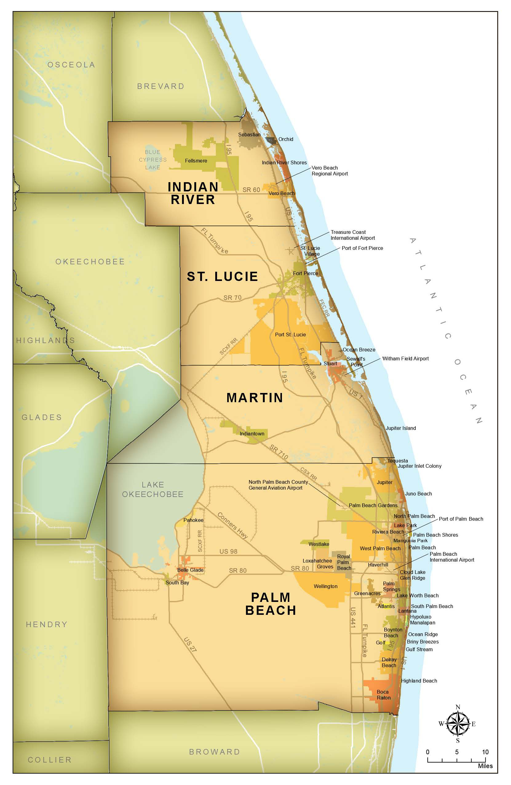 Map of Region which includes Palm Beach, Martin, St Lucie and Indian River Counties